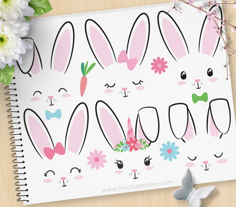 Bunny Faces Rabbits Clipart Unicorn Emoji Stamps Easter image 0