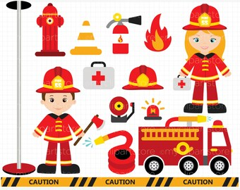 Clipart - Fire and Rescue Crew / Boy and Girl Firefighters / Fire Engine / Fire Truck - Digital Clip Art (Instant Download)