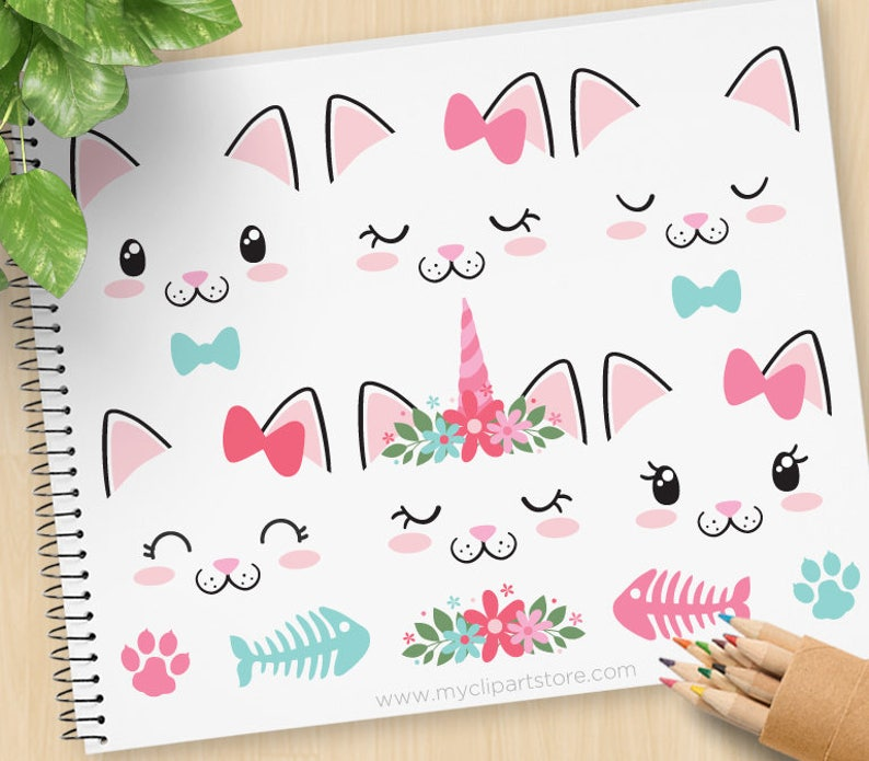 Cat Faces Kittens Clipart Unicorn Emoji Cute Kitty Cat image 0