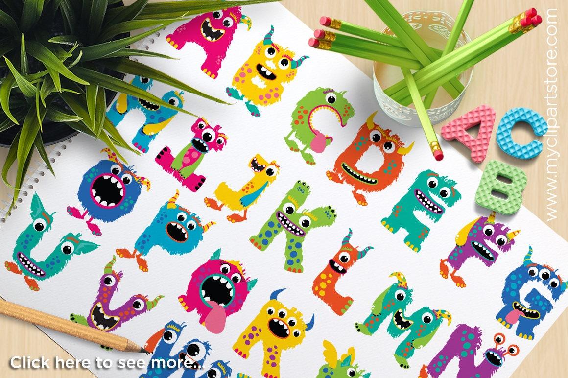 Alpha Monster ABC Girl Monster Letters cute monsters | Etsy