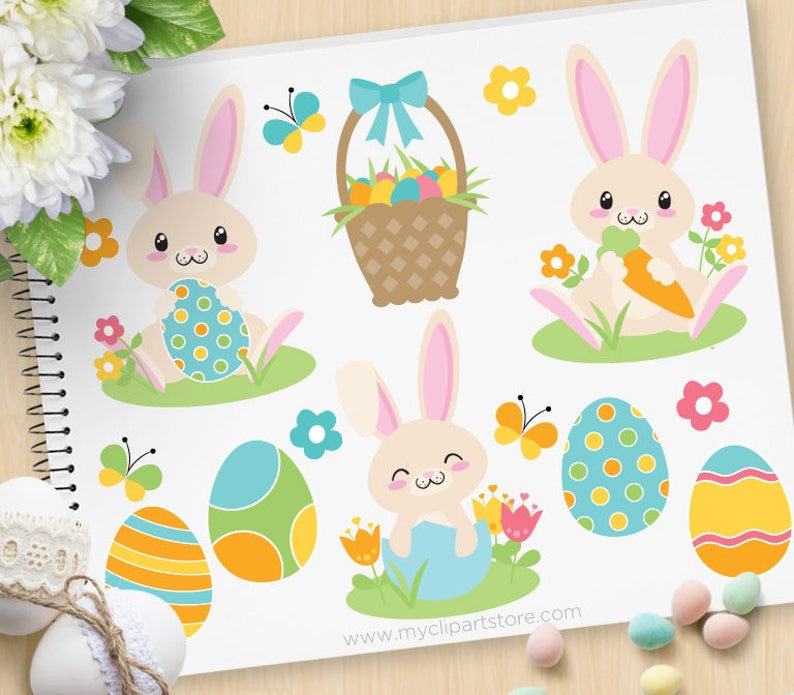 Easter Bunny Clipart Boy bunny Blue Spring Flowers Easter image 0
