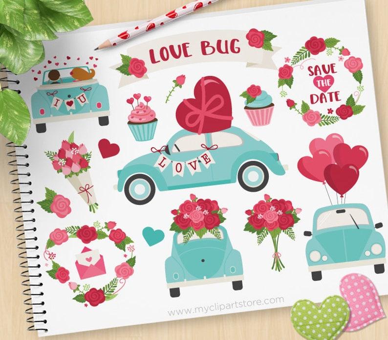 Love Bug Clipart Valentine's Day Vintage Car Valentine image 0