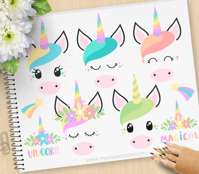Unicorn Faces Clipart Unicorns Emoji Princess Horse little image 0