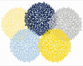 Clipart - Dahlia Flowers (Navy, Blue, Yellow, Grey) - Digital Clip Art (Instant Download)