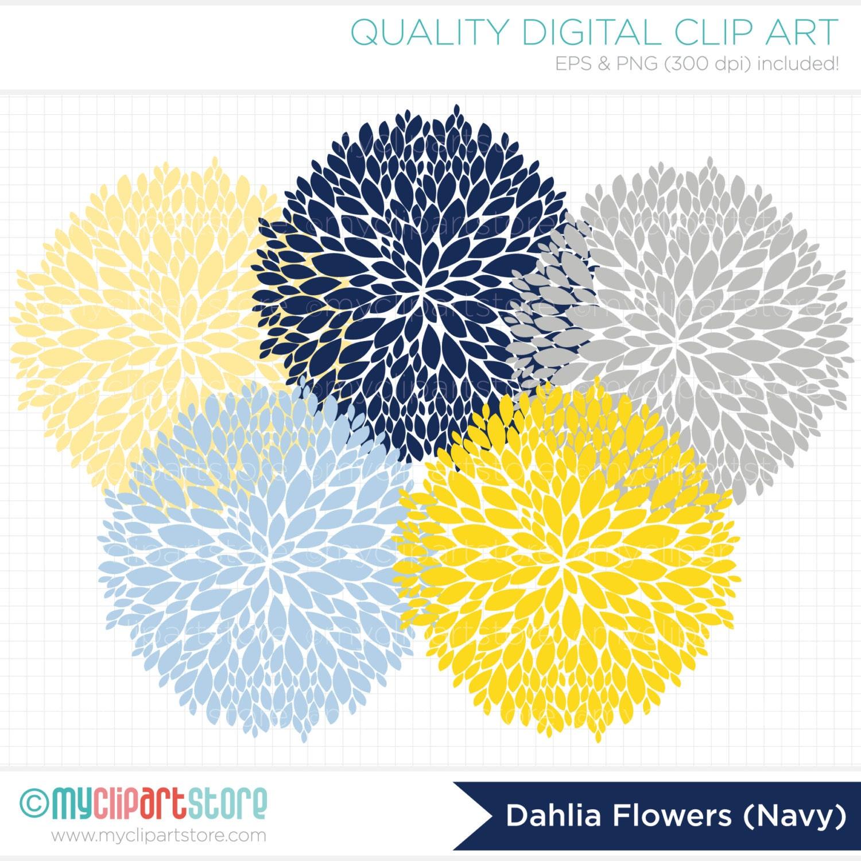 Clipart Dahlia Flowers Navy Blue Yellow Grey Digital Etsy