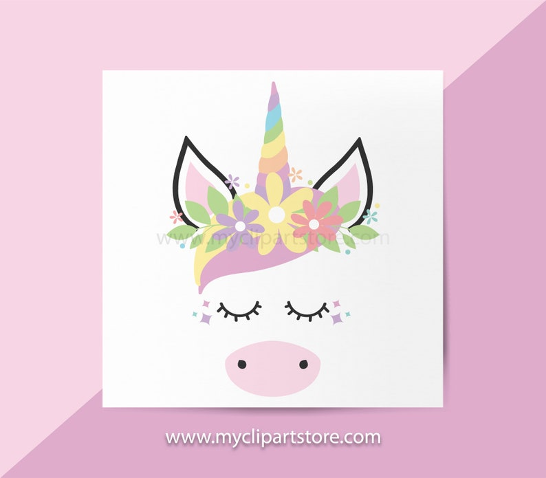Unicorn Clipart Single Cute Unicorn Face Cute Horse Little image 0