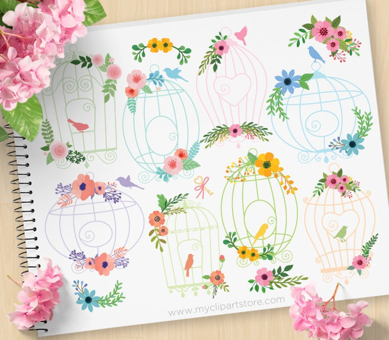 Floral Bird Cages Clipart Silhouette Shabby Chic Roses image 0