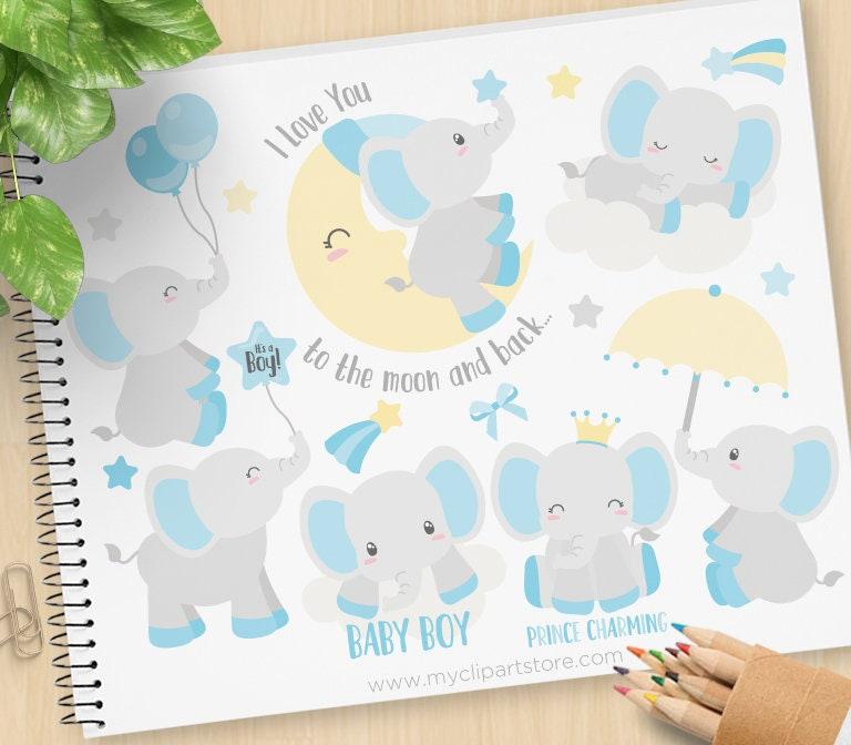 Baby Boy Elephant Clipart Blue elephants Moon prince | Etsy