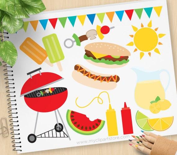 summer bbq clipart barbecue picnic lemonade hamburgers etsy rh etsy com BBQ Smoker Clip Art bbq pictures clip art free