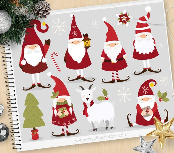 Scandinavian Christmas.Scandinavian Christmas Gnome Clipart Tomte Dwarf Tomtenisse Yuletide Yule Goat Personal And Commercial Use Vector Clip Art Svg Files