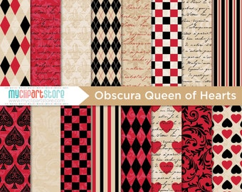 Digital Paper - Gothic, Obscura Queen of Hearts, Scrapbook Paper, Digital Pattern, Commercial Use, JPEG, PDF