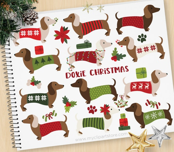 Christmas Candyland Clipart.Christmas Doxie Clipart Dachshund Dog Wearing Ugly Sweater