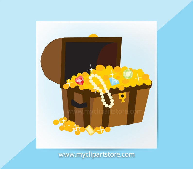 Treasure Chest Clipart Single, Pirates, Jewels, Gold, Pearls, Loot,  Invitation, Summer Clipart, Commercial Use, Vector Clipart, SVG Files