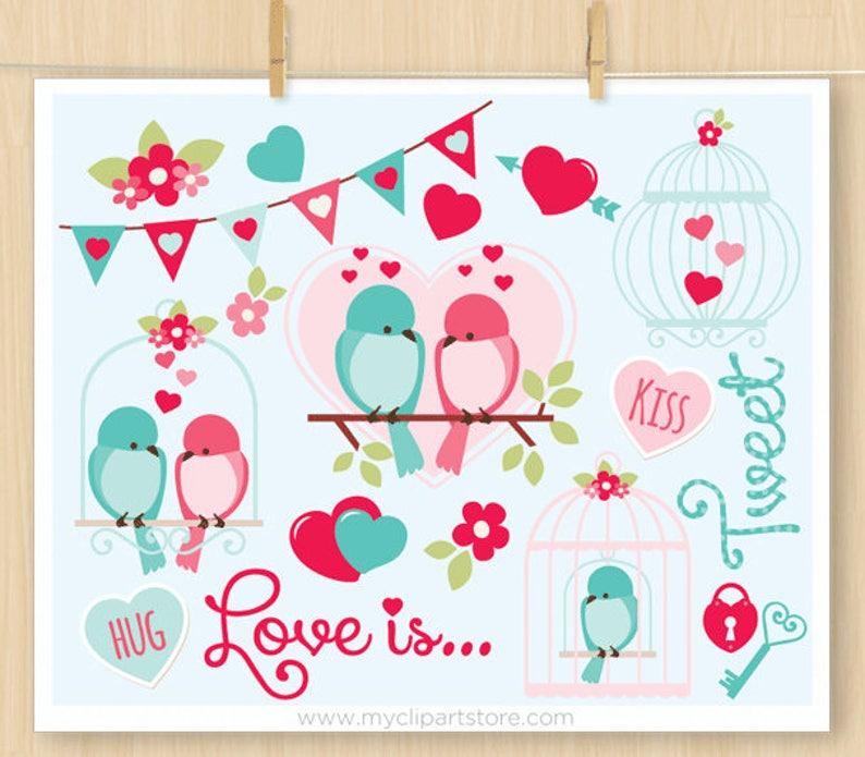 Valentine's Day Clipart Love Is Tweet Birds bird cages image 0
