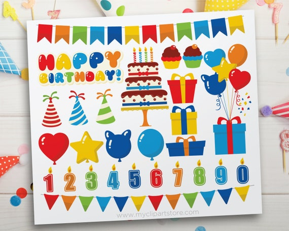 Marvelous Birthday Party Clipart Birthday Cake Numbers Candle Animal Funny Birthday Cards Online Bapapcheapnameinfo