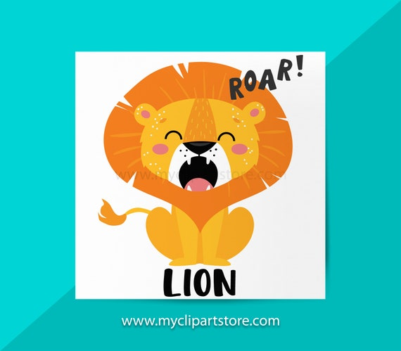 Roaring Lion Clipart Single King Of The Jungle Wild Animals Etsy