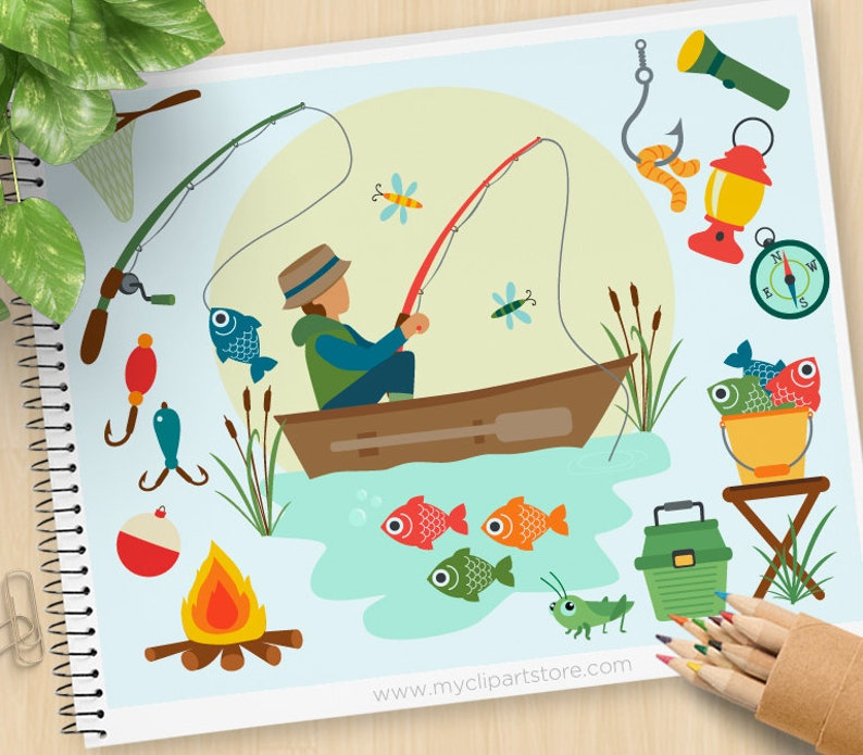 Fishing Clipart Father S Day Fishing Boat Fishing Rod Etsy
