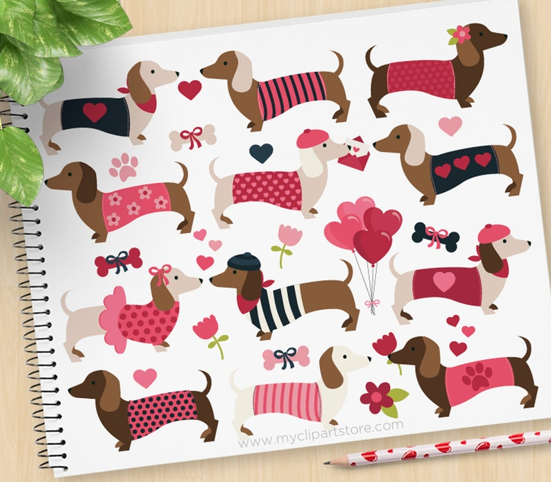 Valentine Doxies Clipart Dachshunds Valentine's Day image 0