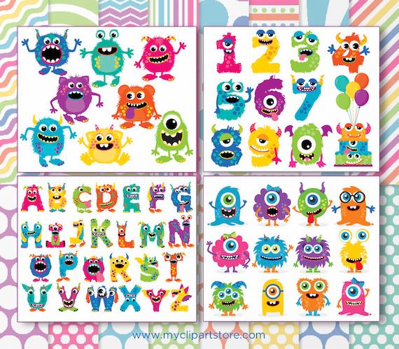 Clipart Bundle Monsters Monster Alphabet Party Digital Etsy