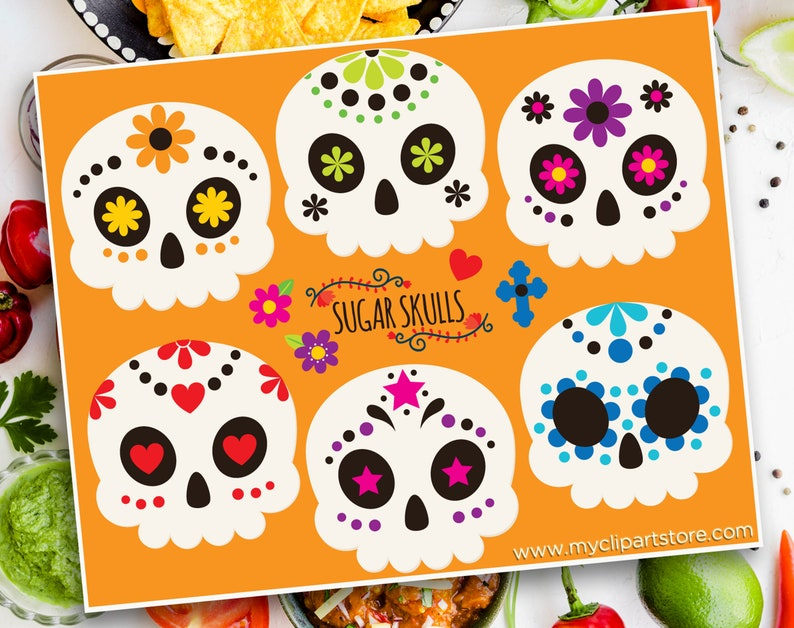 Sugar Skulls Clipart Decorated Skulls Mexico Day of the image 0