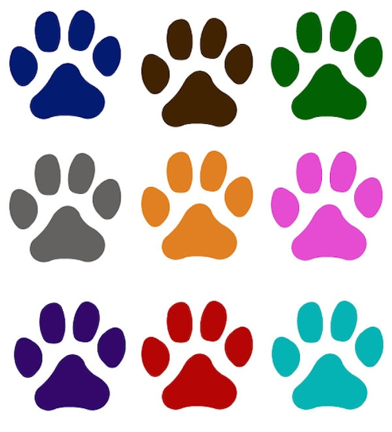BLACK BLUE BROWN PINK DOG PAW PRINTS 3D STICKERS NEW