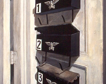 3 Mailboxes, acrylic painting, fine art, wall art