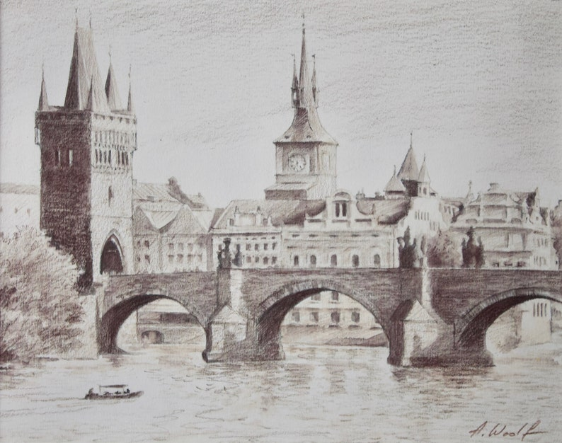 Cityscape Drawing Of Charles Bridge In Prague Czech Republic Etsy