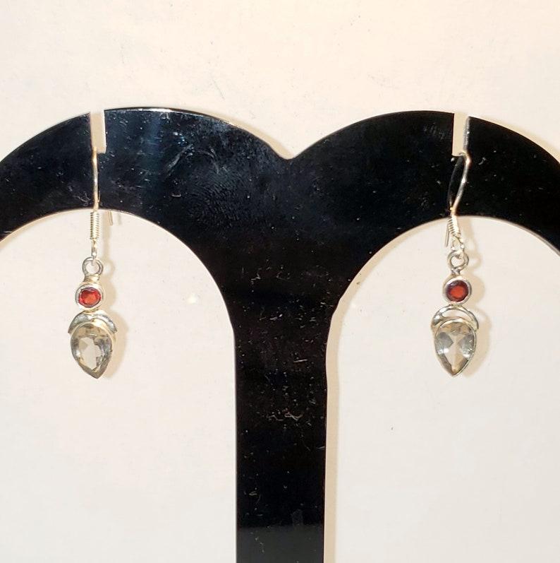Turkish Zircon Garnet Earrings S4-91 Zircon Garnet Earrings 925 Sterling Silver Turkish Handmade Zircon Garnet Topaz Women Earrings