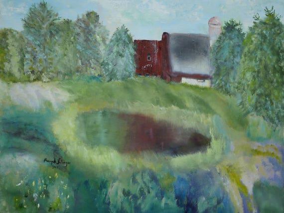 Landschaftsmalerei impressionismus  Landschaftsmalerei Scheune Malerei Impressionismus Gemälde | Etsy