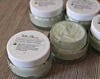 Avocado Matcha Night Cream- Plant Based Organic Skin Care- Vegan- Lightly Scented Cream- Avocado Green Tea