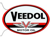 GAS STATION SIGN Nostalgic Veedol Motor Oil 12 quot X 18 quot Inch Oval 22 Ga. Steel Double Sided Flange Garage Art Sign.