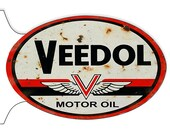 GAS STATION SIGN Aged Veedol Motor Oil 12 quot X 18 quot Inch Oval 22 Ga. Steel Double Sided Flange Garage Art Sign.
