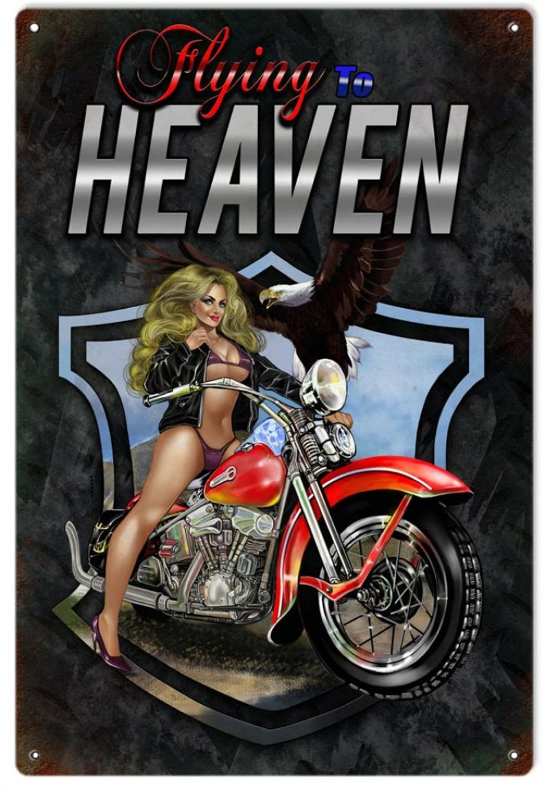 VINTAGE STYLE Pin-Up Girl Flying To Heaven Motorcycle Sign