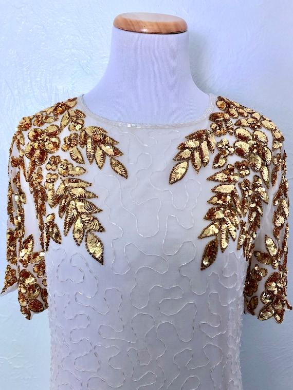 1980s beaded cocktail dress / Jewel Queen / gold … - image 3