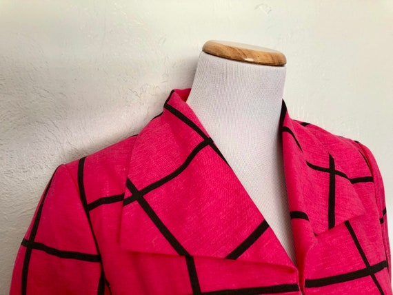 1990s hot pink cropped blazer / Jessica Howard / s