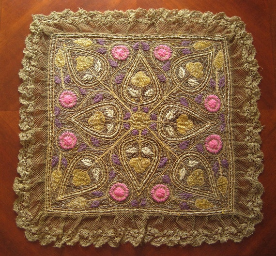 Wedding Altar Cloth: Antique Wool Gold Embroidered Altar Cloth With Real Gold