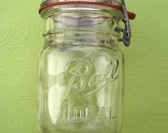 Vintage Ball Ideal Open B Style Canning Jar With Vintage Red Rubber Seal