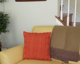 Orange Pillow Case 20X20 Square Pillow Knit Pillow Cable Pillow Case