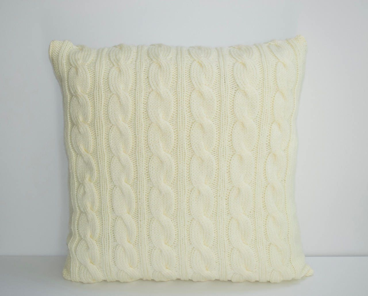Light Yellow Pillow Case 21X21 Square Knit Pillow Cable Pillow   Etsy