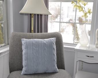 Silver Blue Pillow Case 20X20 Square Pillow Knit Pillow Cable Pillow Case