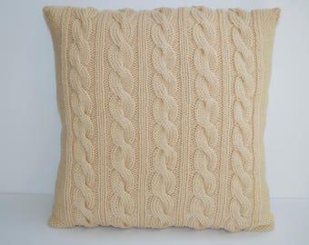 Beige Pillow Case 20X20 Square Pillow Knit Pillow Cable Pillow Case