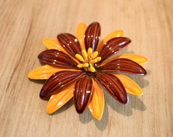 1960s Enamel flower brooch in saffron and rust, mod saffron daisy pin, sixties enameled daisy pin, mod flower pin