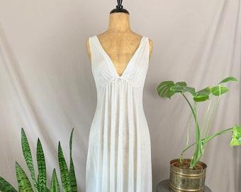 1970s Semi Sheer Nightgown, Seventies Ilise Stevens Nightie, Grecian Style Lingerie, Soft Floral Print Night Dress, Empire Waist Sleep Gown