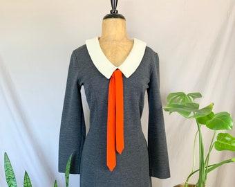 1960s Charcoal Gray Dress, Sixties Carol Lee Dress, Off White Peter Pan Collar, Peter Pan Collar & Bow Dress, Long Sleeve Knit, Vtg Mod