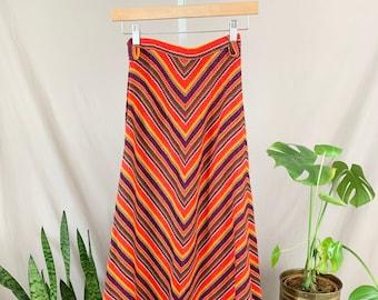 1970s Rainbow Skirt, Seventies Chevron Stripe Skirt, A Line Maxi Skirt, Floor Length, Colorful Knit Skirt, Graphic Stripe Skirt, High Waist