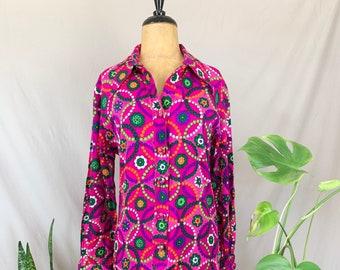 1970s Neon Shift Dress, Seventies Serbin of Florida Dress, Neon Pink & Purple Floral Print, Psychedelic Dress, Long Sleeve Gogo Dress
