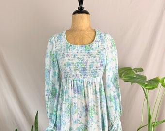 1970s Long Sleeve Mini Dress, Seventies Babydoll Dress, Empire Waist Dress, Bird & Floral Print, Flared Cuff, Purple Blue Green White, Mod