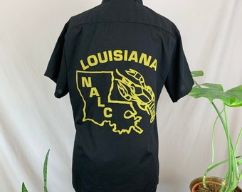 1970s National Association of Letter Carriers Shirt, Seventies NALC Button Up, Black Button Up w/ Graphic, Louisiana Shirt, Crawfish Print