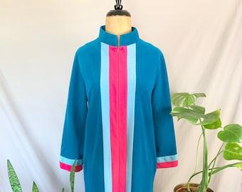 1970s Vanity Fair Velour Robe, Seventies Hot Pink & Blue Hostess Dress, Long Robe, Striped Kaftan, Floor Length Housecoat, Large Vtg Dress