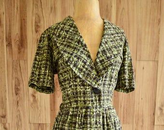 1950s Forest Green Atomic Novelty Print Dress, Black Block Print Shirtwaist Dress, Green Floral Shirt Dress w/ Gathered Skirt & Big Button